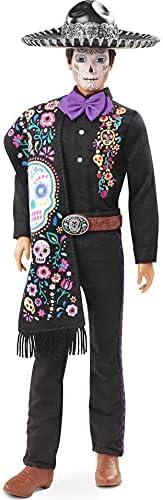Barbie 芭比 2021 Dia De Muertos Ken 娃娃(12 英寸)穿着刺绣衬衫,Serape & Sombrero,搭配卡拉维拉脸漆,收藏