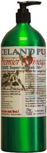 冰岛纯高级鱼油 – 适合大型犬种 – 17 盎司(约 481.9 克)磨铝瓶 – 易于打理 – 闪亮涂层 – 心脏* – 欧米茄 3 EPA 和 DHA