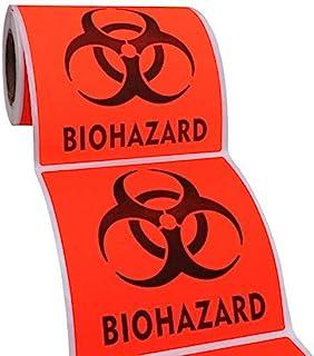 Biohazard 危险*警告标签 - 10.16 厘米 x 10.16 厘米防水自粘贴花标志贴纸,高耐热性,持久 (200)