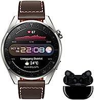 HUAWEI 华为 Watch 3 Pro Classic + Freebuds Pro 黑色 钛 4G 智能手表带 1.43 英寸 AMOLED 蓝宝石显示屏,eSIM 用于通话和独立连接,棕色皮革表带