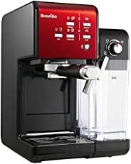 Breville 铂富 PrimaLatte II 意式咖啡机 意大利19bar泵,适用于咖啡粉或咖啡包 一体式自动奶泡器 VFC109X-01,黑色/红色