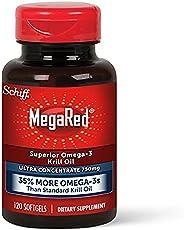 Schiff 旭福 MegaRed 强力软胶囊,750mg Omega-3 磷虾油补充剂(每瓶120粒),无腥味,具有EPA和DHA,加上抗氧化剂虾青素