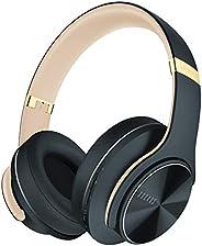 DOQAUS 蓝牙耳机,52 小时播放时间无线耳机,带 3 种均衡模式,高保真立体声耳机,带内置麦克风和软蛋白耳垫,适用于旅行、家庭办公室(暗灰色)