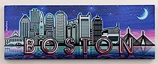 马萨诸塞州波士顿夜景线箔磁贴