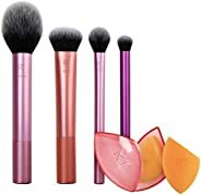 Real Techniques 化妆刷套装,带有旅行上妆绵,适用于眼影,粉底,腮红和遮瑕膏,每套6个