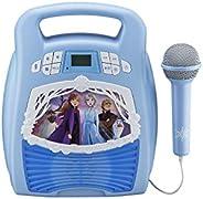 eKids 冰雪奇缘 2 蓝牙便携式 MP3 卡拉 OK 机播放器带灯光显示和录音功能 - 存储数小时音乐,内置内存唱歌,使用真正的麦克风,