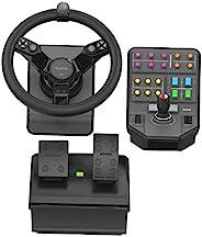 Logitech 罗技 G Farm Simulator 重型设备套装(* 2 代),适用于农场模拟 19 (或更早)、车轮、踏板、车辆侧面板控制板 适用于 PC/PS4