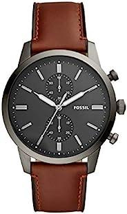 Fossil 男式 Townsman 不锈钢皮革休闲石英计时手表