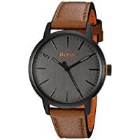"""Hugo BOSS 男式""""哥本哈根""""石英不锈钢和皮革休闲手表,棕色(型号:1550054)"""