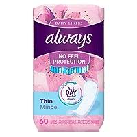 Always Thin 日常護墊,無香味,包裝,60 片 (2 Pack)
