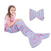Catalonia 儿童美人鱼尾毛毯,超柔软毛绒法兰绒睡觉舒适毯,适合女孩,鱼鳞图案,送礼佳品 浅蓝色 Kids 43234-2338