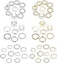 UBGICIG 50 件复古指环套装波西米亚可堆叠粗金色镀银宣言戒指女式极简主义雕刻中空中中中长关节指环首饰