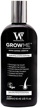 Watermans Grow Me 洗发水,帮助毛发生长,英国制造 - 不含硫酸盐、纯素、咖啡因、生物素、摩洛哥坚果油、尿囊素、迷迭香,帮助毛发生长,解决掉发问题,增加所有种族女性和男性的毛发密集度