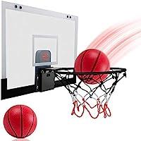 Jiffi 壁挂式篮球架,带红外感应计数器和欢呼声,17 英寸 x 10.4 英寸亚克力板,包括 2 个迷你篮球和带针的手动泵,适用于门墙儿童室内玩耍