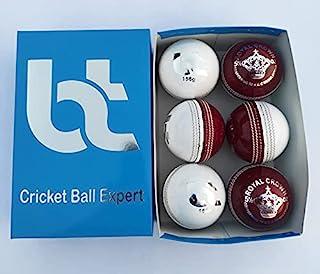 白色/红色 156 克板球,2 件装,6 个球,真皮,卓越品质