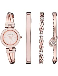 Anne Klein 女士施华洛世奇水晶重音手镯手表手链套装,玫瑰金/粉色