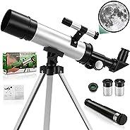 儿童和成人初学者望远镜,70 毫米天文学望远镜,天文学初学者三脚架天文望远镜,成人 3 倍气压月亮滤镜,全涂层镜片