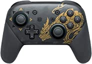 Switch/Switch Lite 无线控制器,专业控制器远程游戏手柄操纵杆,带双振动,陀螺轴,可调节涡轮,运动,唤醒和截屏功能 - 怪物猎人崛起版