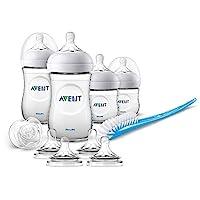 Philips 飞利浦 Avent 天然奶瓶套装 SCD301/02 适用于新生婴儿(125/260ml,4个奶嘴6m+)0m+,透明,4瓶装