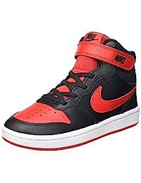 Nike 耐克 男童 Court Borough Mid 2 (PSV) 篮球鞋,黑色/白色