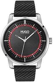 HUGO 来自 Hugo Boss 的 HUGO 男式不锈钢石英手表,皮革表带,黑色,20(型号:1530098)