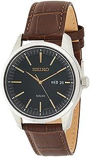 Seiko 精工 男士 不锈钢表盘 牛皮表带手表 银色