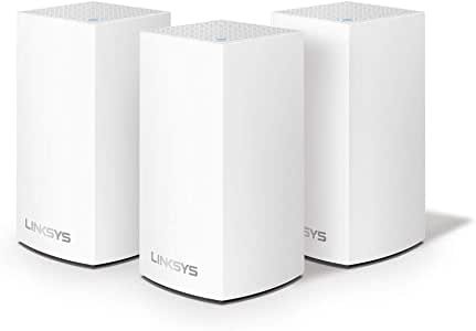 Cisco 思科 Linksys WHW0103 Velop 全网状Wi-Fi系统(AC3900 Wi-Fi路由器/Wi-Fi扩展器,可实现无缝覆盖,家长控制,与Alexa兼容,覆盖面积达4500平方英尺),白色,3件装