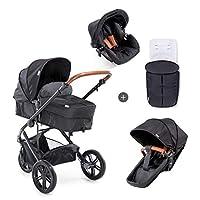 Hauck Pacific 3 Shop N Drive 組合嬰兒車 6 件套 至 18 千克 + 嬰兒提籃 可轉換為可逆的座椅帶護腿套 輕便可調節手柄 超大車輪 黑色