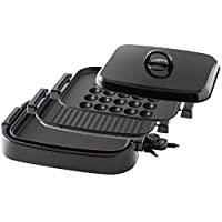 山善 電烤盤 3WAY (平面板/波型板/章魚燒盤) 可拆卸式 一鍵操作 帶蓋 氟涂層 EDH-T1300(B)