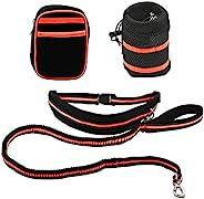HACRAHO 狗绳套装,1 件免提狗绳套装,带腰带狗狗跑步牵引绳,带瓶架和腰包,适合户外使用