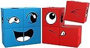 PicassoTiles 磁性表达拼图方块块 8 块混合搭配立方体感官玩具 STEM 学习套件 磁铁构造积木玩具套装 含 36 张创意情感游戏卡 PMC08