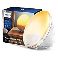 Philips 飛利浦 SmartSleep HF3520 / 60喚醒光療鬧鐘,帶有彩色日出模擬和日落褪色小夜燈,白色