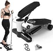Papepipo 便攜式樓梯踏步器 - 迷你健身設備,帶阻力帶和液晶顯示器
