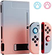 Nintendo Switch 保护壳,高级 PC 硬分离彩色保护套,用于 Switch Joy-Con控制器,带 2 个拇指握把盖(蓝色+粉色)