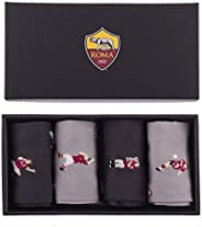 AS Roma 短袜休闲袜套装中性 - 成人黑/红色,40-46