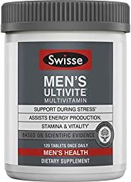 Swisse Premium Ultivite 男士每日复合维生素 | 能量和压力支持,富含抗氧化剂和矿物质 | 维生素A,维生素C,维生素D,生物素,钙,锌等 | 120粒