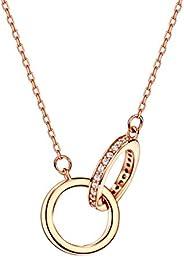 michooyel 18K 玫瑰金镀金互锁无限双圈吊坠项链带钻石戒指纯银女士女孩 40.64-45.72 厘米