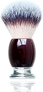 JDK 剃须刷,带合成红色亚克力手柄男士剃须刷,湿剃须刷,适用于剃须剃须刀套装