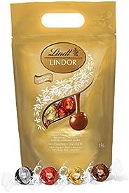Lindt 瑞士蓮 Lindor牛奶巧克力松露-大約80個巧克力球,1公斤-適合共享-牛奶,白巧克力,黑巧克力和榛子巧克力球,具有柔滑的夾心