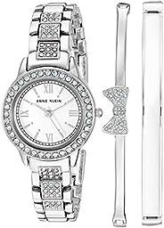 Anne Klein 女士施华洛世奇水晶重音手链手表手镯套装,AK / 3334