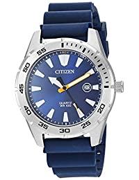 Citizen 男式不锈钢日本石英聚氨酯表带,蓝色,22 休闲手表(型号:BI1041-22L