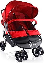 Joovy Scooter X2 双人手推车,并排手推车,双胞胎手推车,大型储物篮,红色