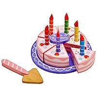 Idena 4100109 – 小小厨师,生日蛋糕,木制,15件套,大约15 x 15 x 8.5厘米
