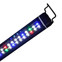 SEISSO 水族馆灯,鱼缸灯带铝合金外壳可伸缩支架,白色蓝色红色* LED 鱼缸灯,适用于淡水植物,45.72-65.04 厘米,24 瓦