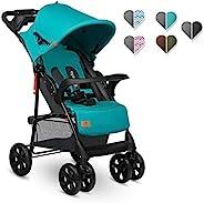 Lionelo Emma Plus 婴儿推车 轻巧 现代 小型婴儿车 带躺卧位置可折叠 Vivid Turkus