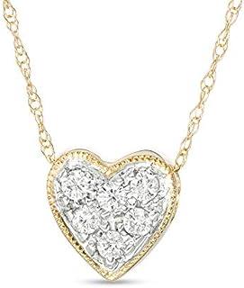Royal Jewelz 1/7 克拉钻石心形吊坠项链,10k 白金或黄金或粉色金。