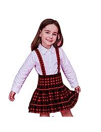 女童纯色针织喇叭裙 A 字型迷你背带裙 3-13 岁