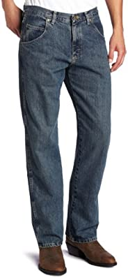 Wrangler 男式 Big Rugged Wear 休闲直筒牛仔裤 地中海 50W x 28L