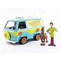 Jada Toys 史酷比 Doo 神秘机器 1:24 比例压铸玩具车,带有长毛和史酷比人偶模型