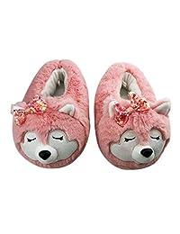 Mommy & Me 拖鞋可爱新颖 3D 狐狸熊猫形状儿童女士保暖软家居拖鞋